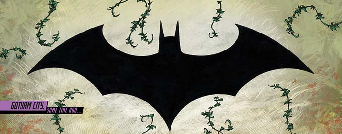 selection from a page from Batgirl Annual #2, the bat symbol with plant growth