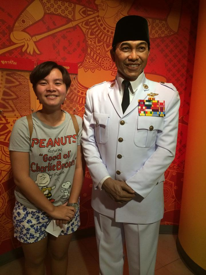 Crystal and a wax statue of Indonesia's first president, Soekarno