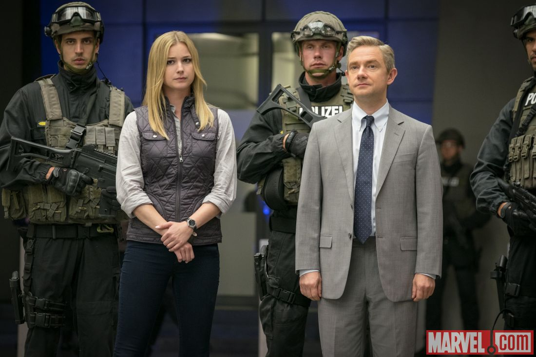 Everett Ross and Sharon Carter face the team