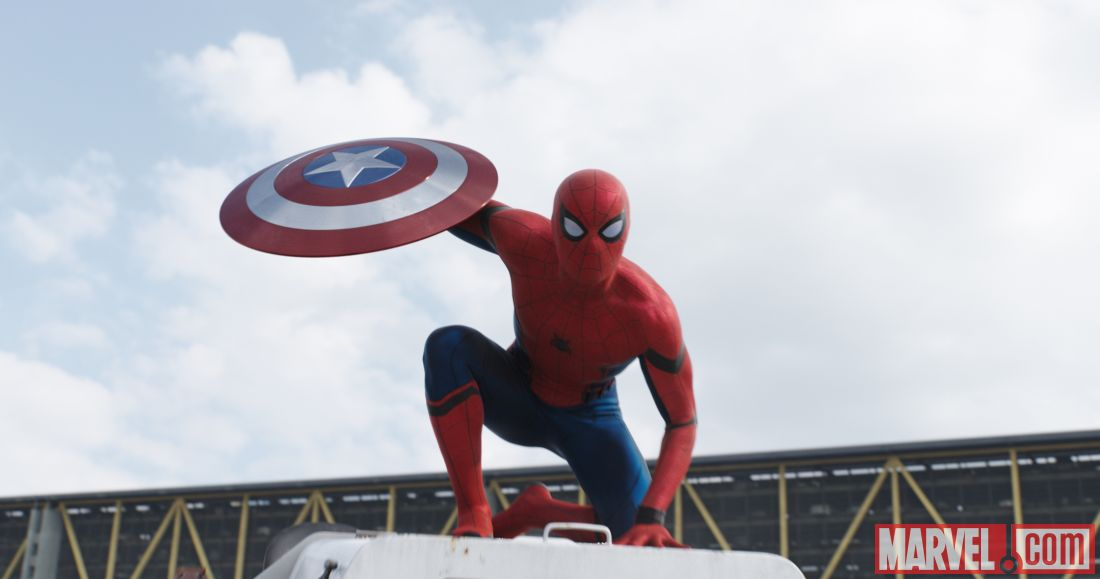 Spider-Man grabs Cap's shield