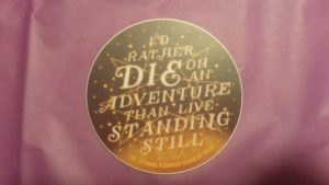 December 2016 Owlcrate: V. E. Schwab quote sticker