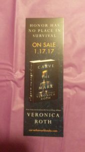 December 2016 Owlcrate: promotional bookmark