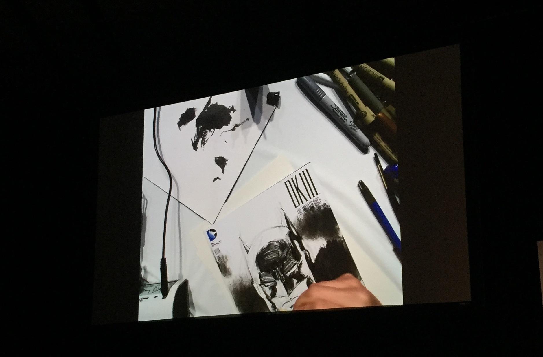 Jim lee drawing during Spotlight Panel