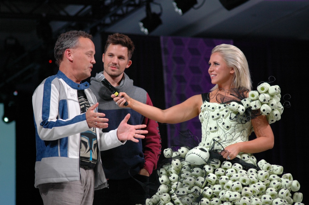 Her Universe founder Ashley Eckstein with Clone Wars co-stars on stage at the Her Universe Fashion Show