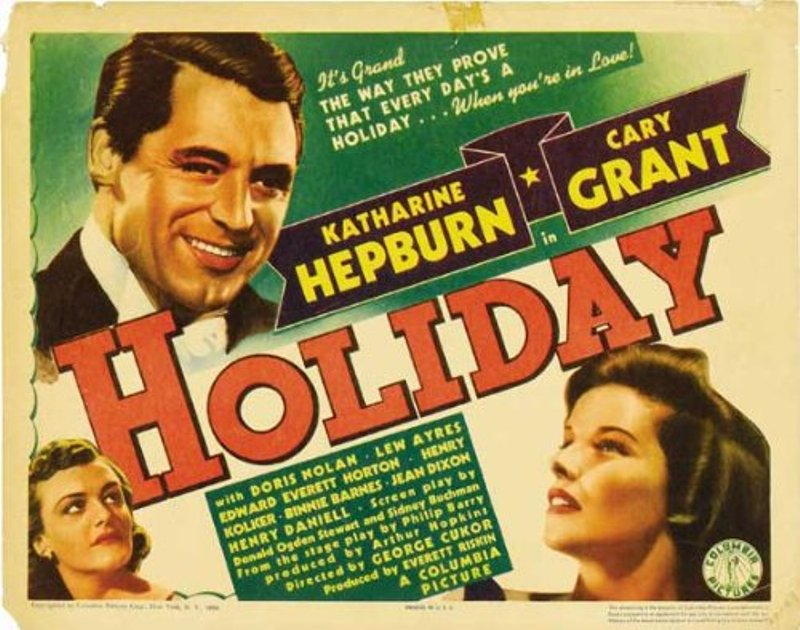 """Poster for 1938 film """"Holiday"""" with Cary Grant & Katharine Hepburn"""