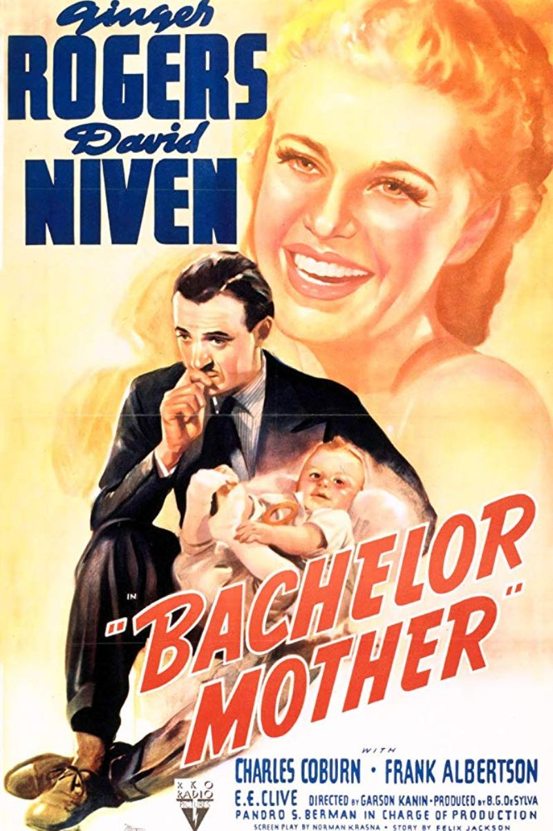 """Poster for 1939 film """"Bachelor Mother"""" starring David Niven and Ginger Rogers"""