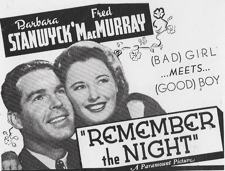 """Poster for the 1940 film """"Remember the Night"""" starring Barbara Stanwyck and Fred MacMurray"""