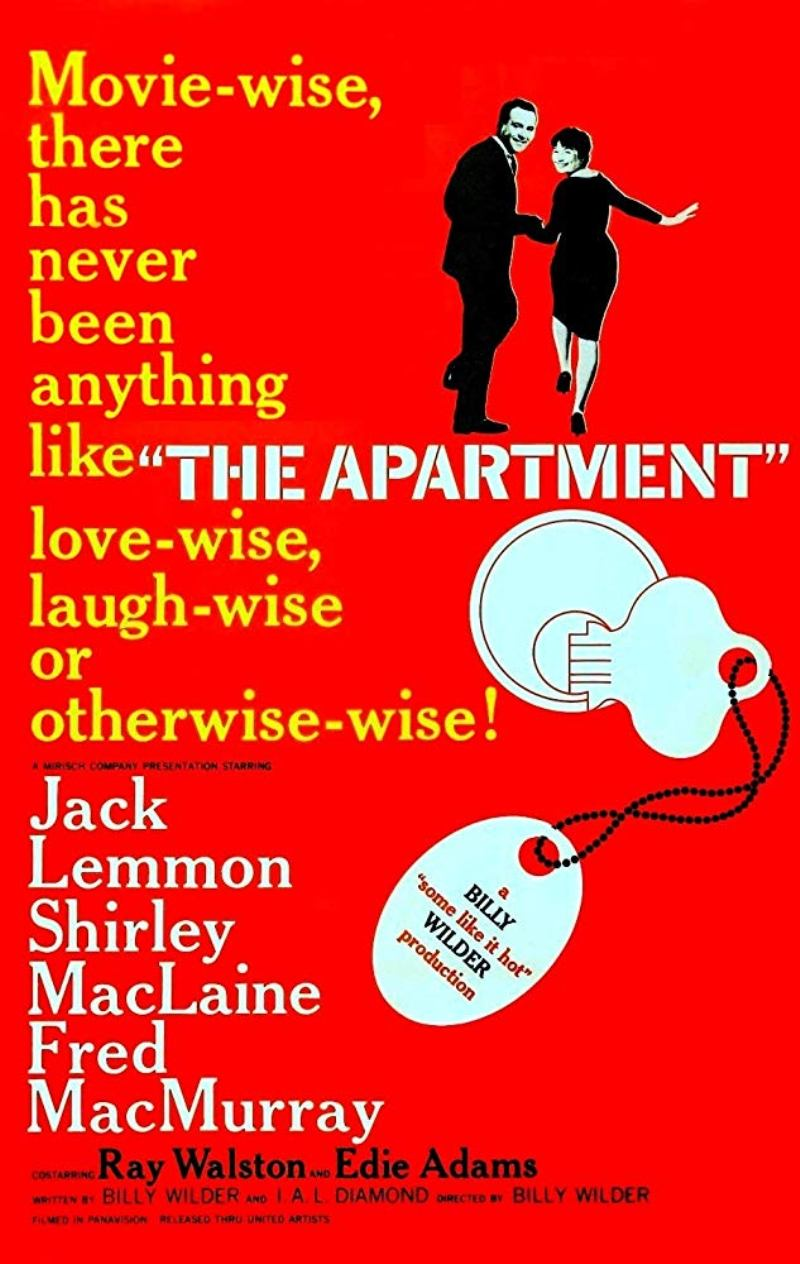 "Poster for the 1960 movie ""The Apartment"" starring Jack Lemmon and Shirley MacLaine"