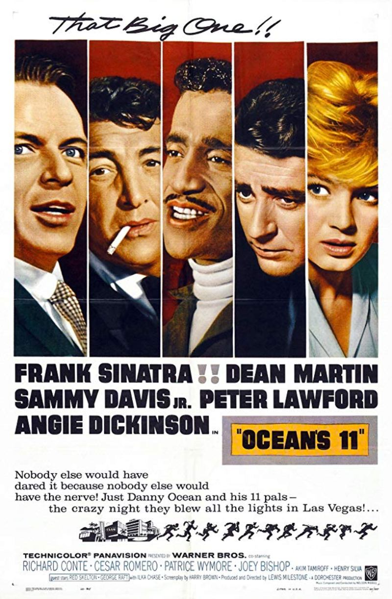 "Poster for the original 1960 film ""Ocean's 11"" starring Frank Sinatra, Dean Martin, and Angie Dickinson"