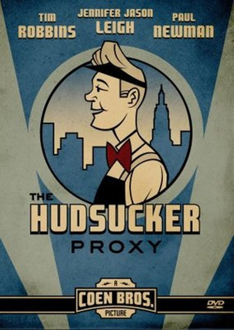 "Poster for the 1994 movie ""Hudsucker Proxy"" starring Tim Robbins, Paul Newman, and Jennifer Jason Leigh"