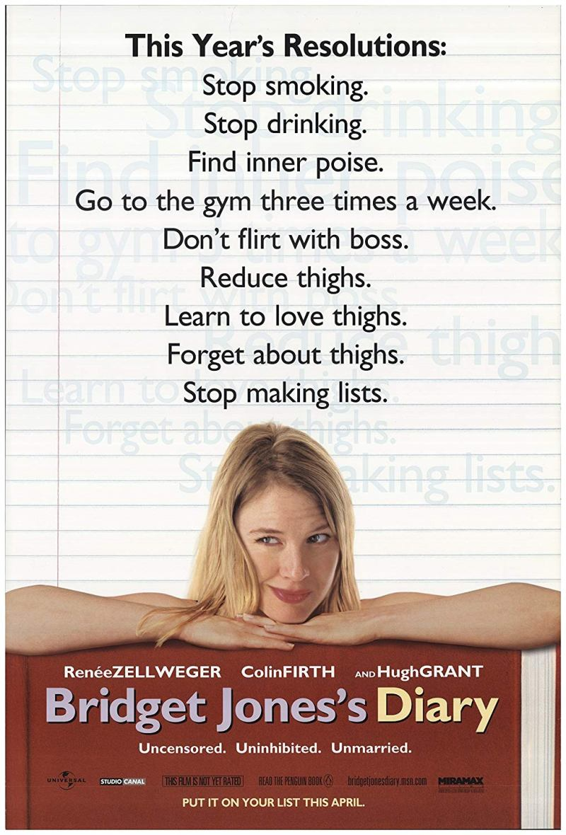 """Poster for the 2001 movie """"Bridget Jones's Diary"""" starring Renee Zellweger, Colin Firth, and Hugh Grant"""