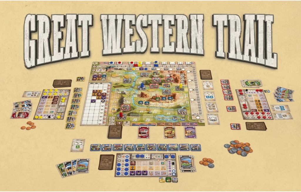 Overview of the board and components for Great Western Trail, a board game.