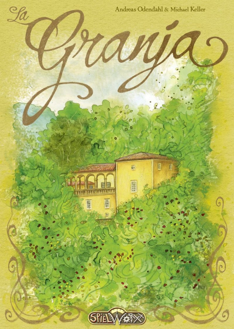 Cover art for the game La Granja depicting an idyllic stucco & tile roof home nestled amongst vivid green trees.