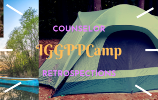 "A collage of ""camping photos"" - a tend, a canoe on a lake at sunset, a pair of hiking boots on a mossy rock, a campfire. The title reads ""IGGPPCamp Counselor Retrospections""."
