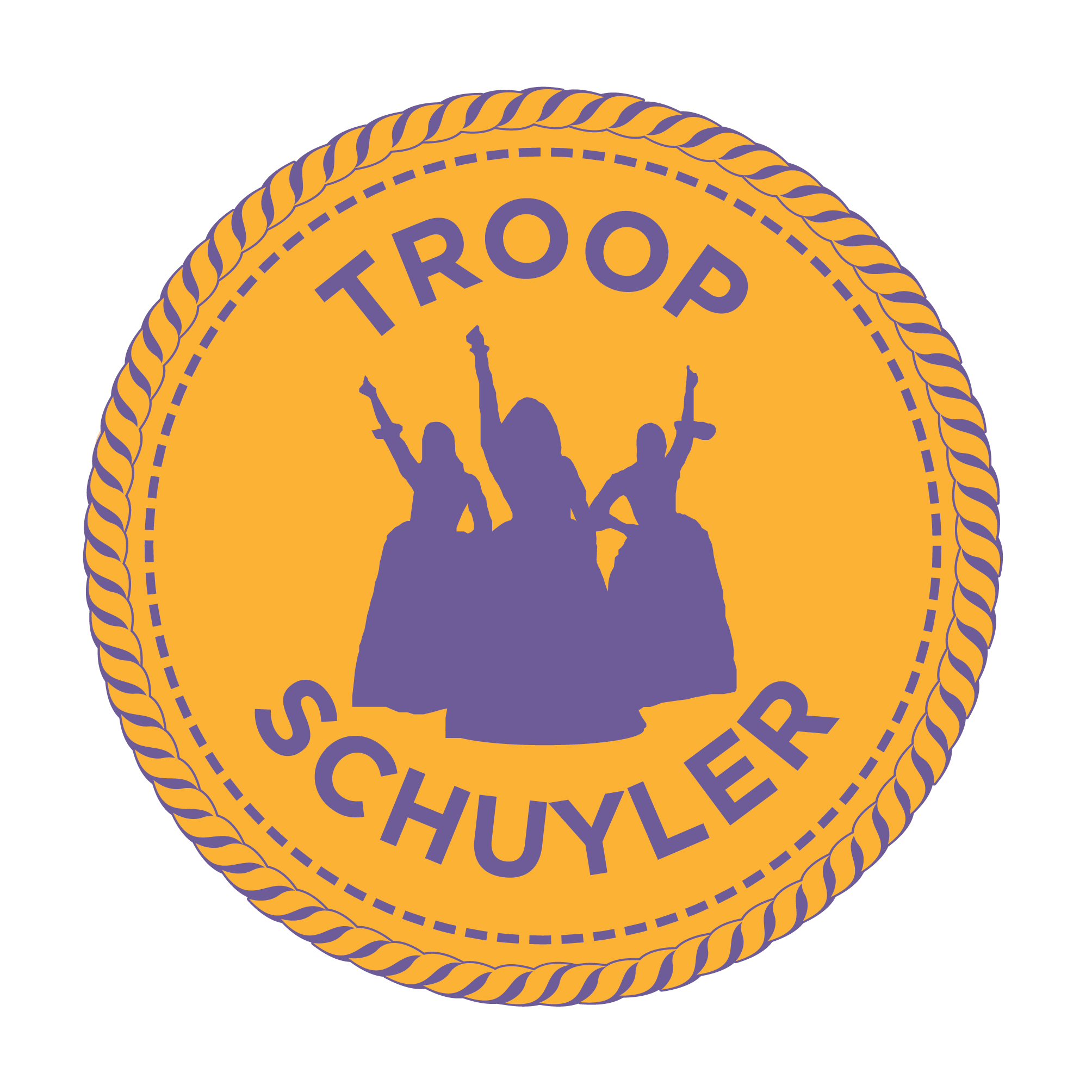 "A goldenrod merit badge that reads ""Troop Schuyler"" with purple silhouettes of the Schuyler Sisters from the Hamilton musical."