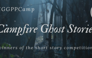 "A background of a shadowed and eerie forest. In the upper left corner ""IGGPPCamp 2019"". The centered title ""Campfire Ghost Stories"". A subscript ""winners of the short story competition"""