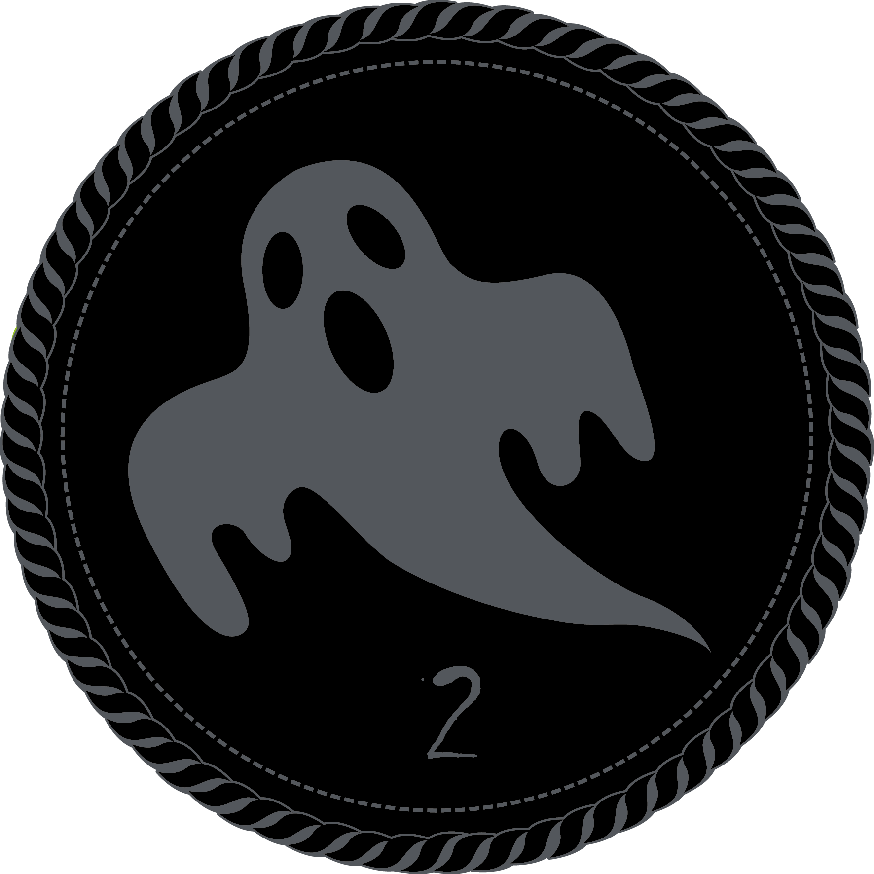 A black camp merit badge with a grey ghost and a numeral 2