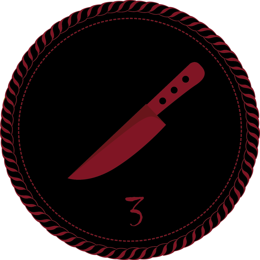 A black camp merit badge with a dark red kitchen knife and a numeral 3