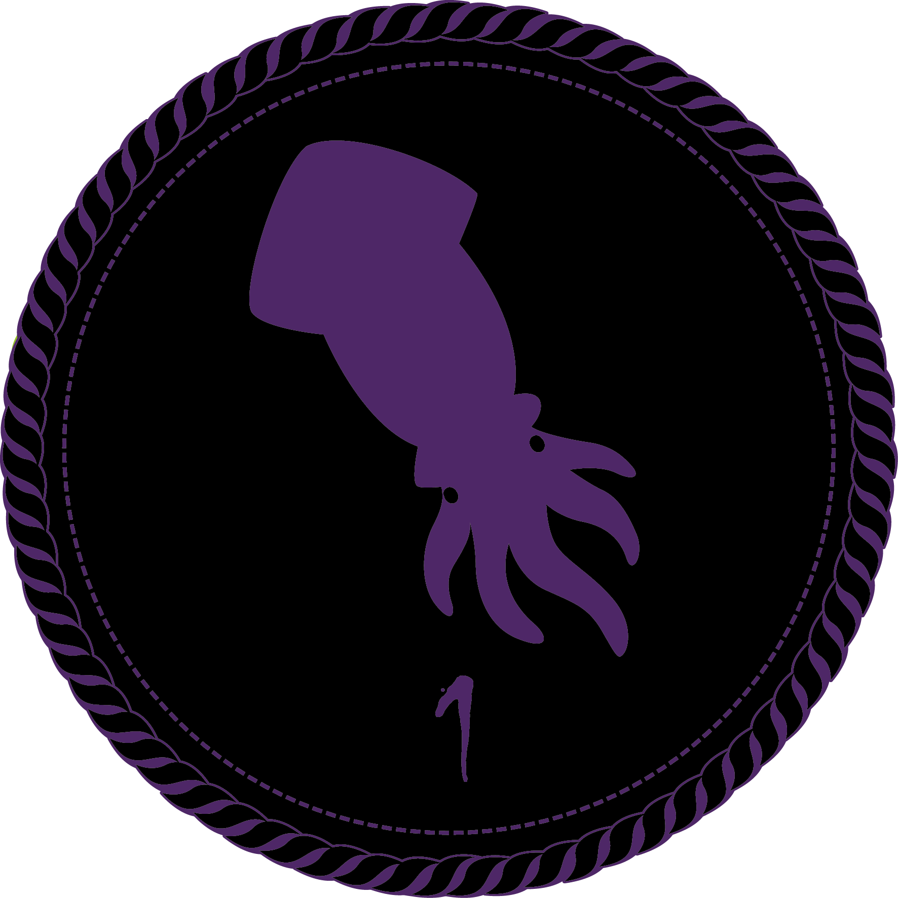 A black camp merit badge with a purple squid and a numeral 1