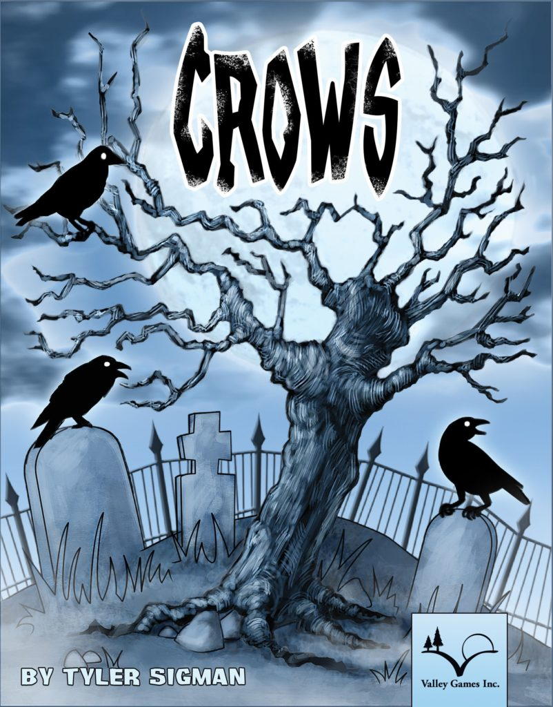 Cover art for the board game Crows. A tree with bare limbs, surrounded by tombstones, is filled with crows.