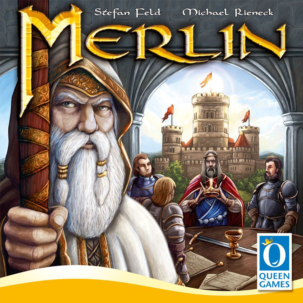 Board game cover art for Merlin. A wizened old man with a white beard and a staff, ostensibly Merlin, looks out from the left side. On the right, King Arthur and two knights are posed in front of Camelot.