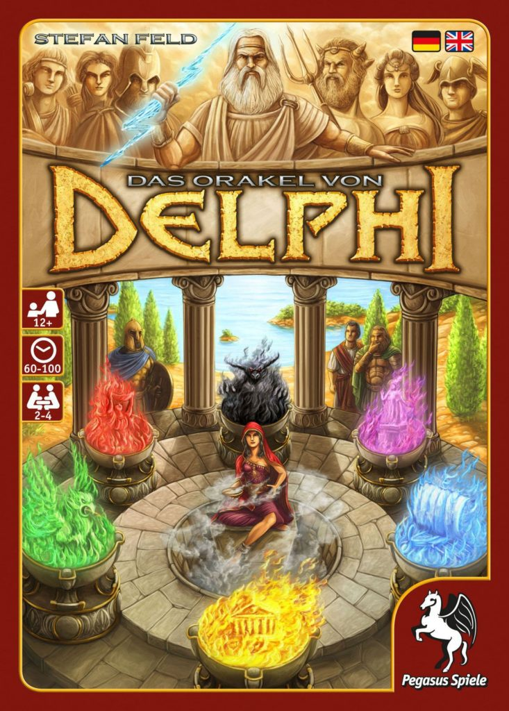Cover art for the board game The Oracle of Delphi showing colored stones, an oracle sitting in the middle of them, and Greek Gods floating above the title of the game.