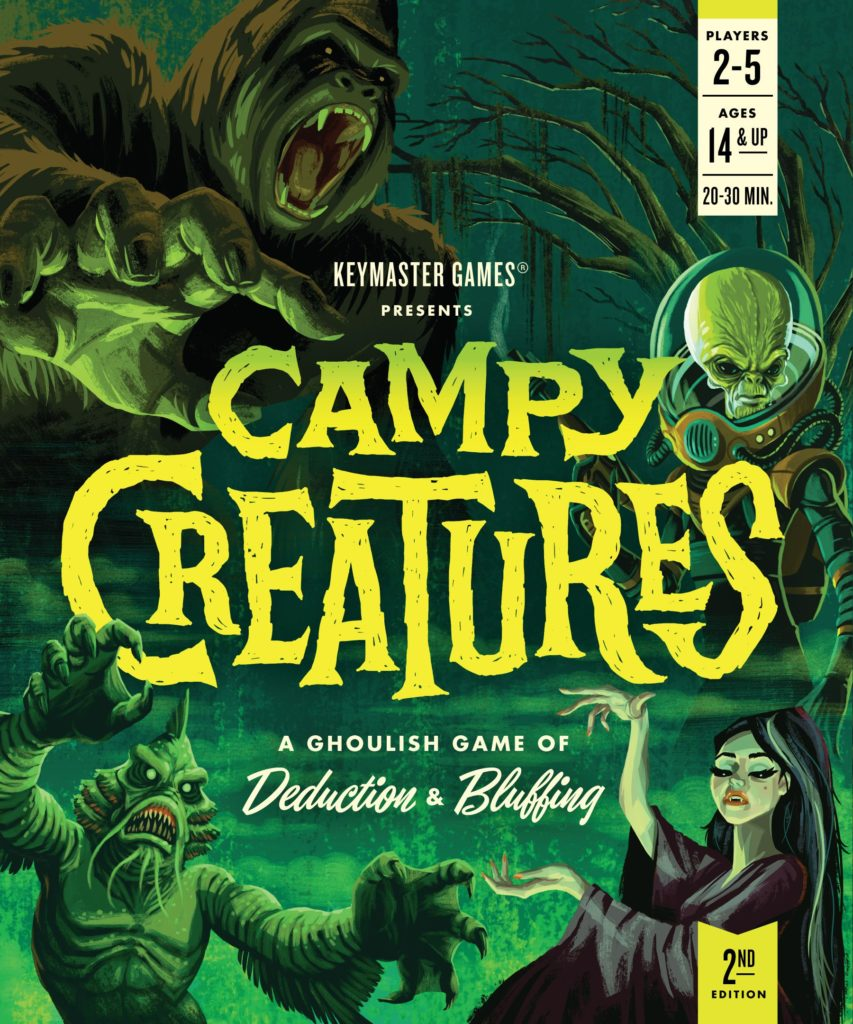 A pulpy board game cover for Campy Creatures in shades of green and neon yellow. Various monsters from creature features surround the title.