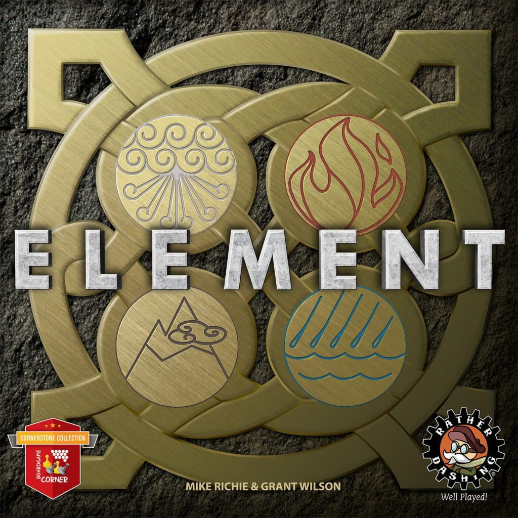 Board game cover art for the game Element. A celtic style circle knot has four interior circles, each with an elemental symbol emblazoned on it (Wind, Fire, Earth, Air)