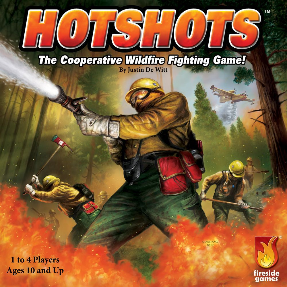 Cover art for the board game Hotshots, showing wildfire fighters spraying water at a blaze. In the background a helicopter drops water on distant trees.