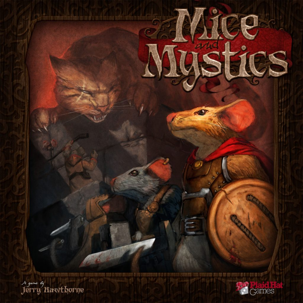 Cover for the board game Mice & Mystics, showing mice wearing armor, carrying buttons as shield and needles as swords.