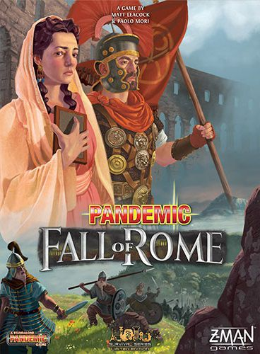 Cover art for the game Pandemic: Fall of Rome. Two Roman citizens, a woman and a centurion stare into the distance in the foreground. Behind them is countryside and ports and an aqueduct.