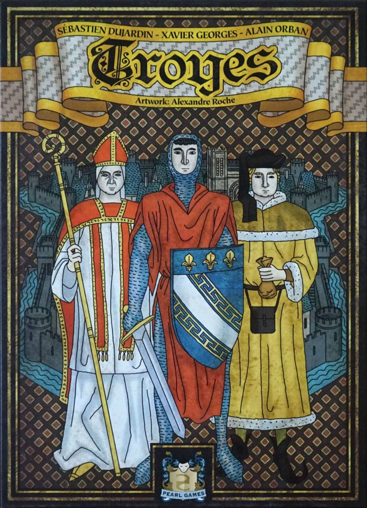 Board game cover art for the game Troyes, depicting three men, a Bishop, a Knight, and a Merchant in medieval garb in the style of 14th or 15th century art.