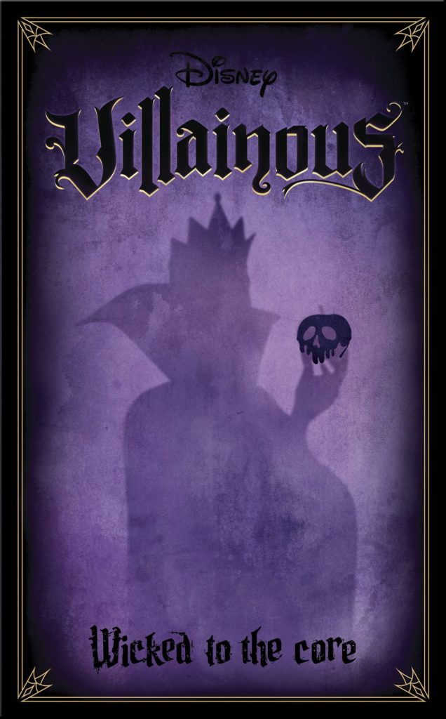 Cover art for the Wicked to the Core expansion of Disney Villainous. A purple background and in deeper plum shades, a silhouette of the Evil Queen from Snow White holding an apple.