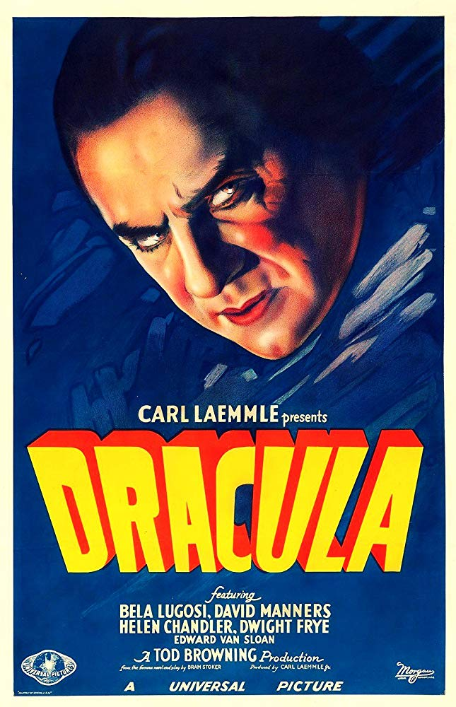 An illustrated poster for the 1931 Carl Laemmle film 'Dracula' depicting a close-up of Bela Lugosi as Dracula