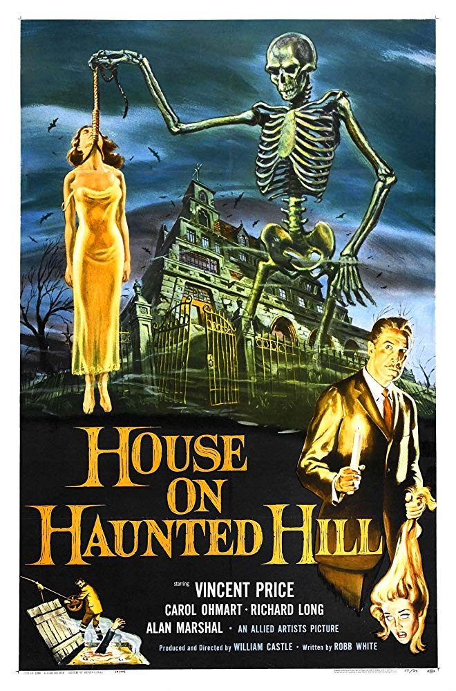 An illustrated poster for the 1959 film House on Haunted Hill. A dilapidated Victorian house fills the background with foreboding skies. An over-sized skeleton holds a noose from which hangs the limp body of a woman wearing a negligee. In the foreground, Vincent Price holds a lit candle and a woman's decapitated head, held by the hair.