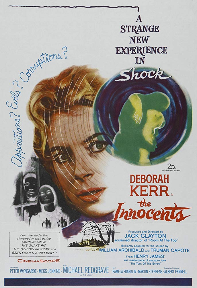 An illustrated poster for the film The Innocents. A close-up of Deborah Kerr stares out at the viewier, to the left are two figures, a man and a woman, shown in negative, peering through a window, and on her right are the same figures, this time as shadowy silhouettes embracing.