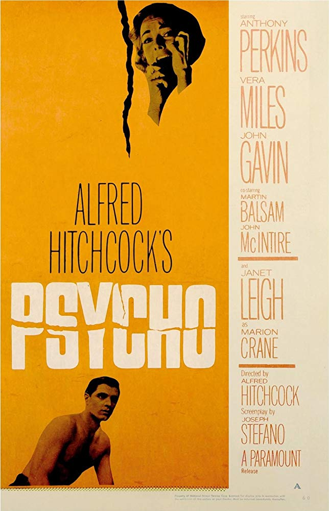 An illustrated poster for Alfred Hitchcock's Psycho, showing a woman screaming in fear in the upper right corner and a young, shirtless man in the lower left.