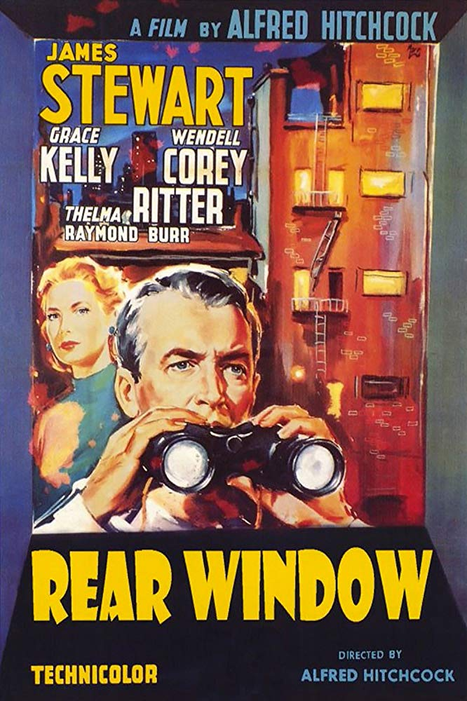 An illustrated poster for the Alfred Hitchcock film Rear Window, showing James Stewart peering through a pair of binoculars. Grace Kelly and a New York apartment building are shown in the background.