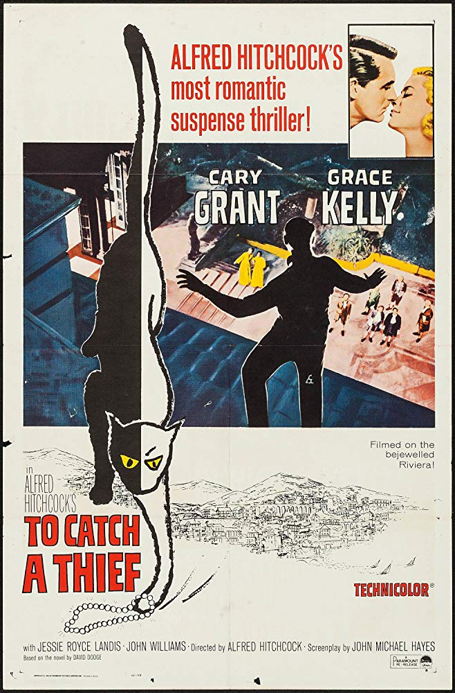 An illustrated poster for the Alfred Hitchcock film To Catch a Thief, showing a man's silhouette on a tiled roof, looking down at a fancy dress party in the courtyard below. A cat, half black and half white, paws at the title.