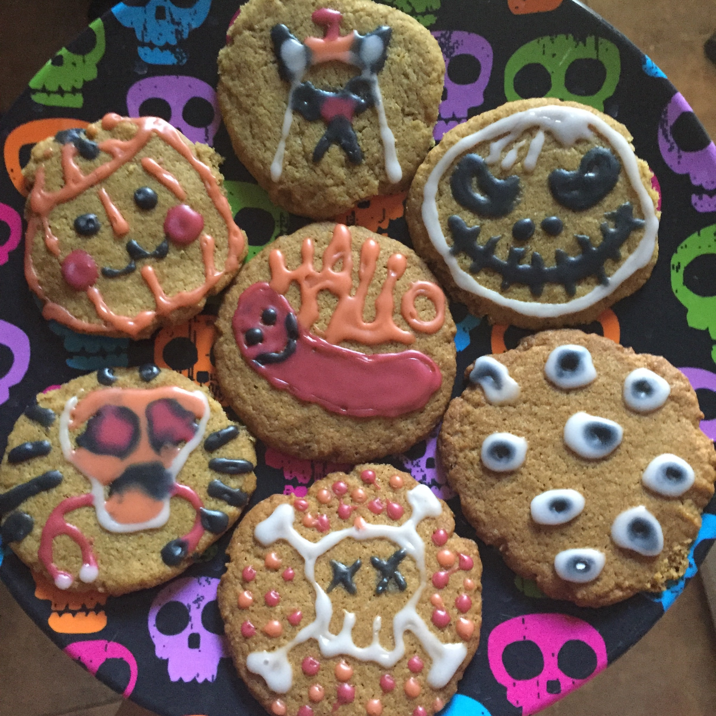 Seven examples cookies decorated during Halloween Party 2016