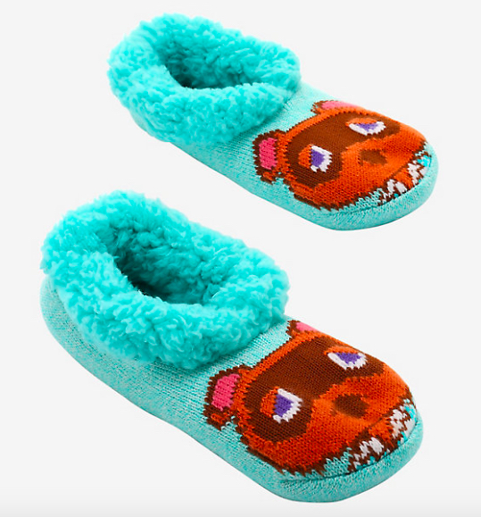 Teal slippers with Tom Nook's face