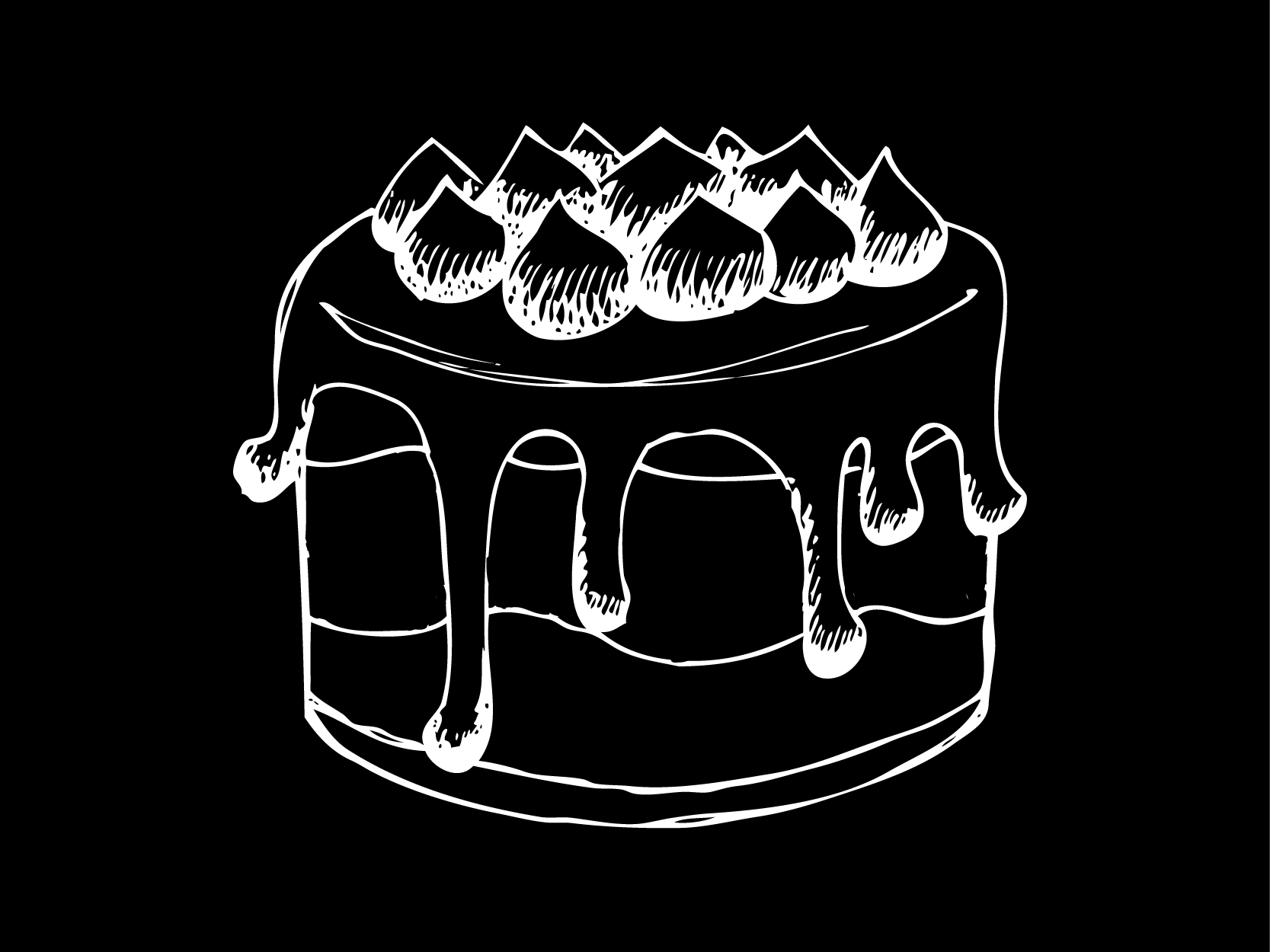 black and white chalk style drawing of a cake with 2 layers, dripping ganache, and topped with peaked merengue